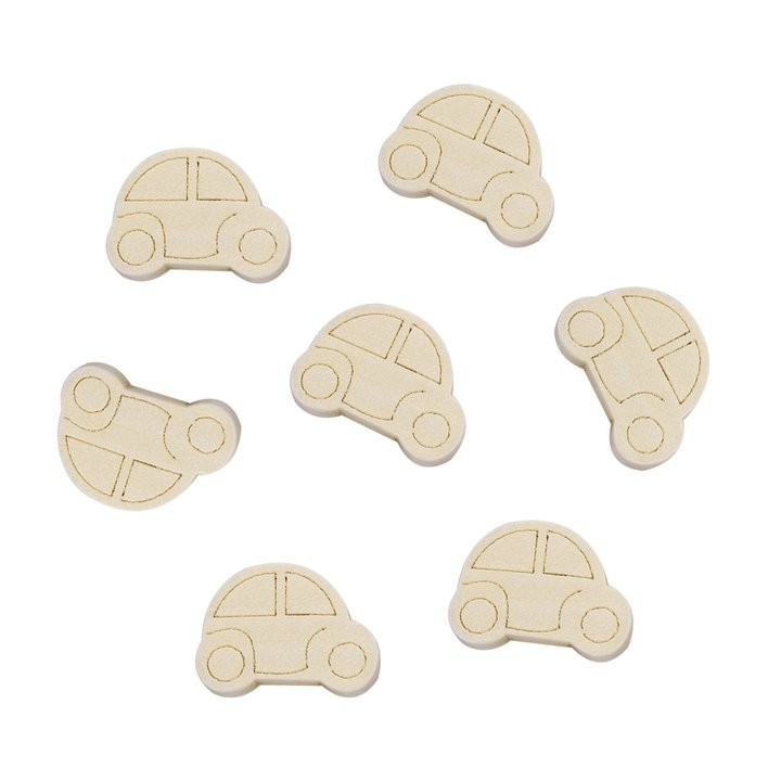 5 COCHES DE MADERA NATURAL 25x19mm