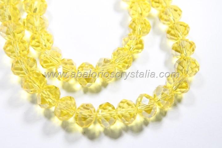 Rondel cristal facetado amarillo 8x6x6mm (tira de 70 unidades)