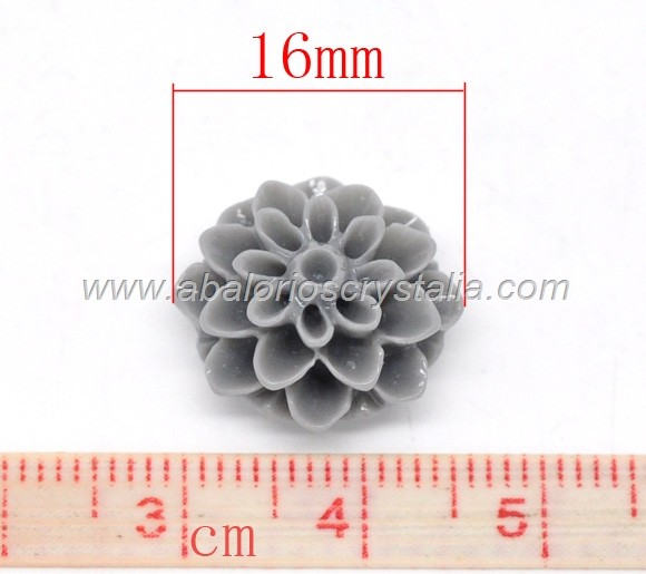 LOTE 5 CABUCHONES BASE PLANA RESINA FORMA FLOR 16X8mm