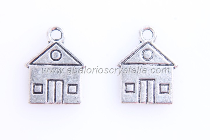 10 COLGANTES CASA PLATA ANTIGUA 16x13mm