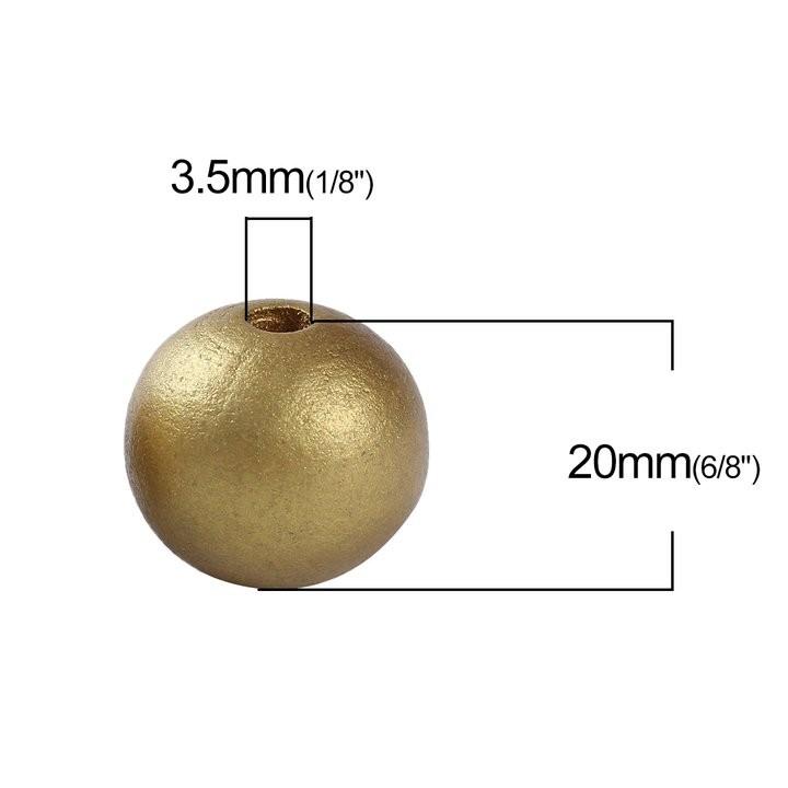 5 BOLAS DE MADERA DORADO 20mm