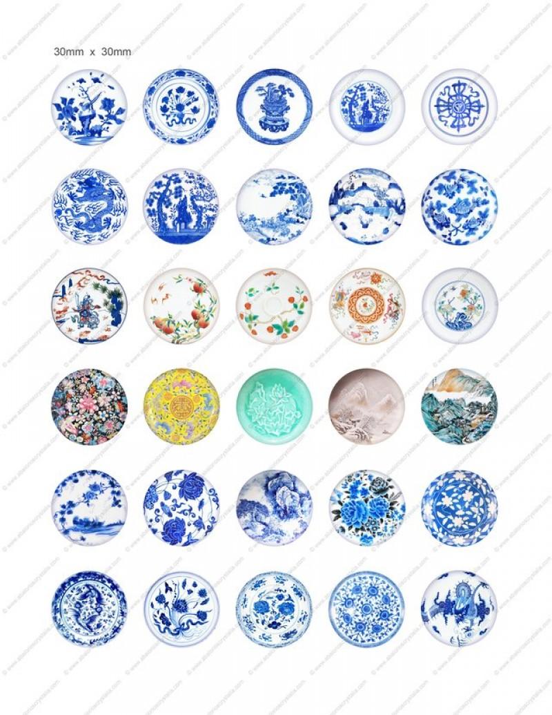 LÁMINA CON 30 IMÁGENES 30x30mm Porcelana