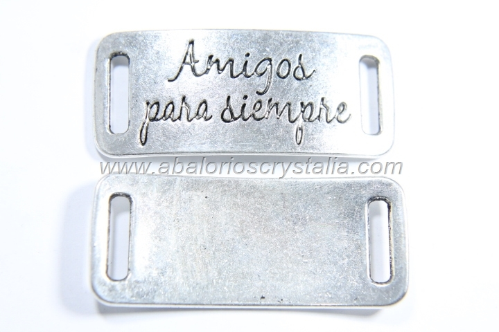 CONECTOR Amigos para siempre PLATA ANTIGUA 39x16mm