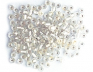 20 GR ROCALLA 6/0 (3.6 - 4mm) TRANSPARENTE EFECTO PLATA