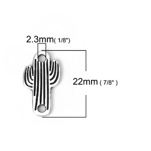 5 CONECTORES CÁCTUS PLATA ANTIGUA 21x12mm
