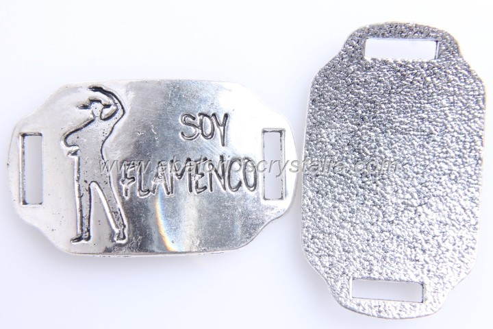 CONECTOR Soy flamenco PLATA ANTIGUA 42x26mm