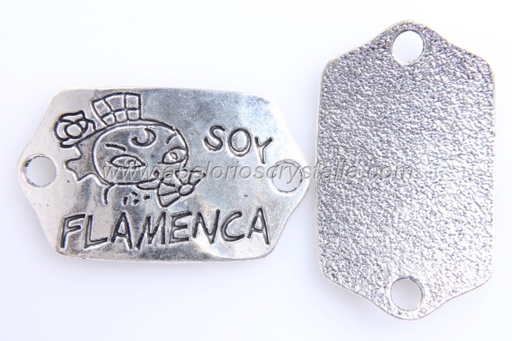 CONECTOR Soy flamenca PLATA ANTIGUA 42x26mm dibujo cara