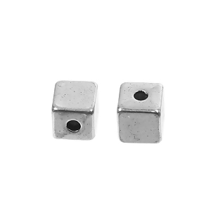 20 CUBOS ESPACIADORES PLATA ANTIGUA 4x4mm