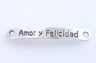 5 CONECTORES CHAPA Amor y Felicidad PLATA ANTIGUA 44mm