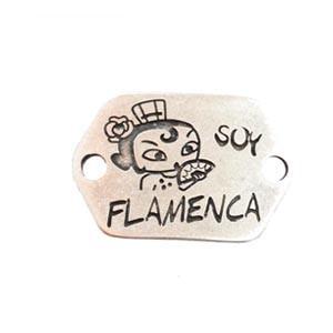 CONECTOR CHAPA ZAMAK BAÑO PLATA Soy Flamenca 40x24mm dibujo cara