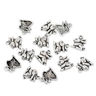 10 COLGANTES CONEJO PLATA ANTIGUA 15x13mm