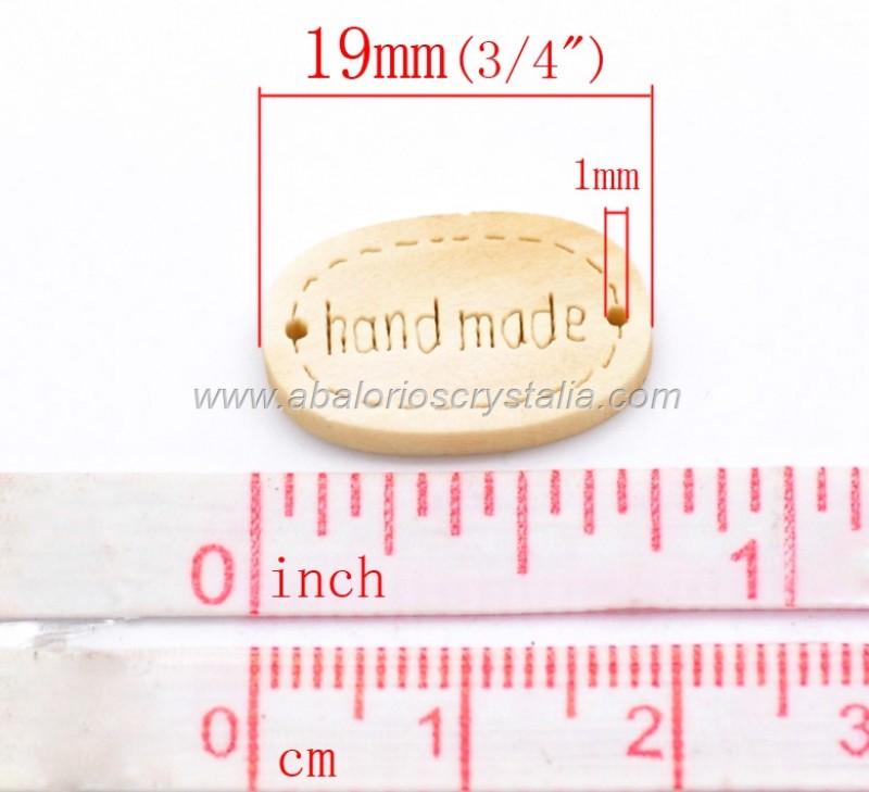10 CONECTORES MADERA NATURAL PARA TUS PROYECTOS hand made HECHO A MANO 19x12mm