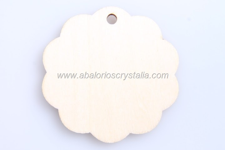 1 COLGANTE DE MADERA LISO GALLETA 52mm