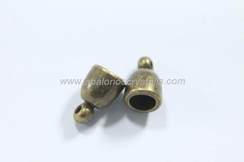 10 MINI CAPUCHONES BRONCE CON ANILLA 9x6mm
