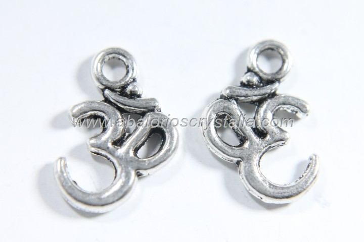 10 COLGANTES OHM PLATA ANTIGUA 16x10mm