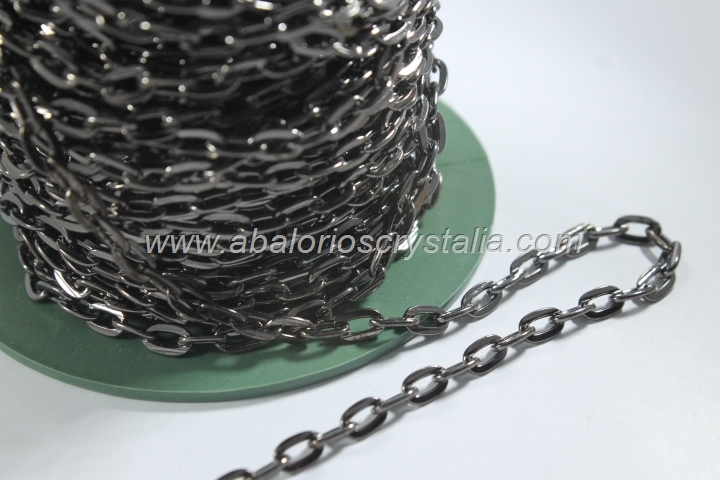 1 METRO CADENA GRIS PLOMO FORZADA PLANA 8.5x5x1.2mm
