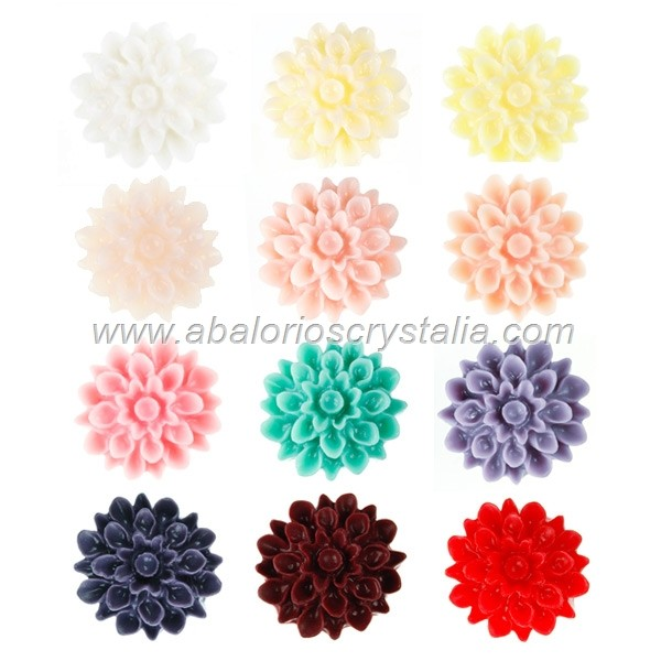 LOTE CABUCHONES FLOR RESINA BASE PLANA 17x17x8mm 12 COLORES