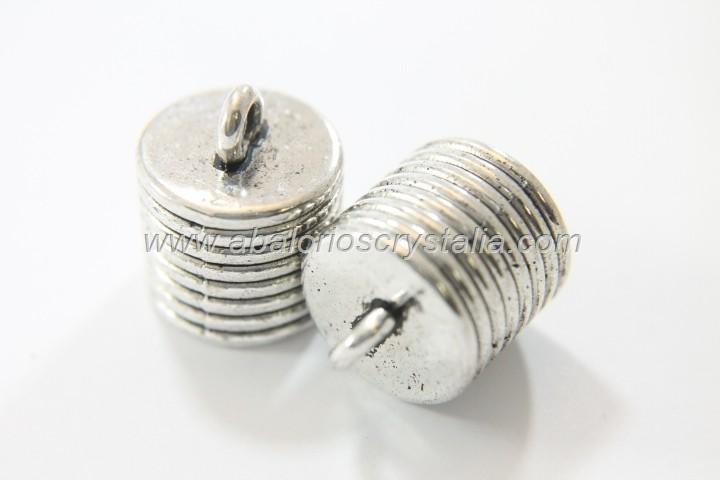 2 CAPUCHONES PLATA ANTIGUA CON ANILLA  20x16mm