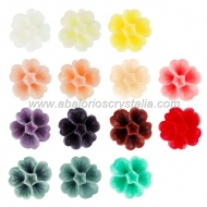 LOTE CABUCHONES FLOR RESINA BASE PLANA 13x13x6mm 14 COLORES