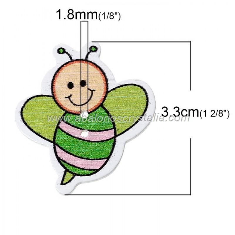 5 BOTONES DE MADERA 2 AGUJEROS ABEJA MIX 3.3cm x 3.0cm