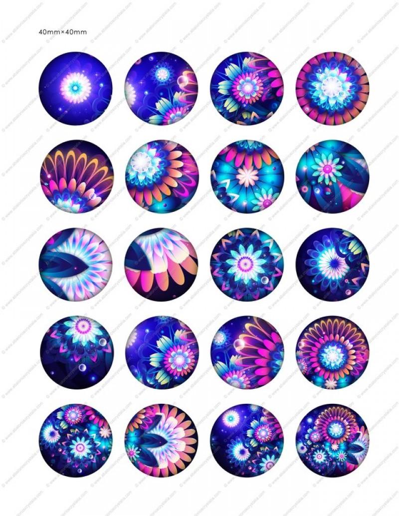 LÁMINA FOTOGRÁFICA CON 20 IMÁGENES 40x40mm Flores neon