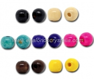 25 BOLAS DE MADERA MIX COLORES 10x9mm