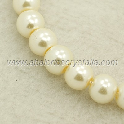 30 PERLAS DE CRISTAL COLOR CREMA 6mm