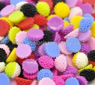 LOTE 20 CABUCHONES BASE PLANA RESINA FLOR MIX COLORES 10X5mm