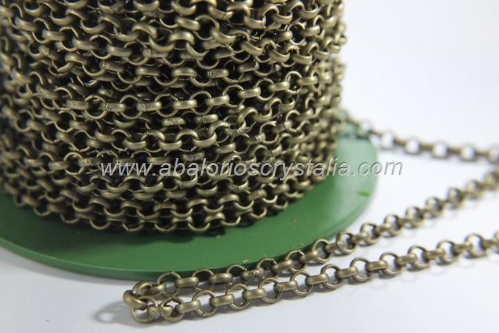1 METRO CADENA BRONCE ROLO 4.8x4.8x0.7mm