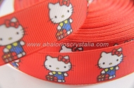 1 METRO DE CINTA GROSGRAIN ESTAMPADO HELLO KITTY CINTA ROJA 22mm