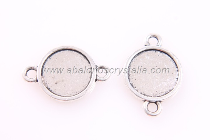 5 CONECTORES CAMAFEO PLATA ANTIGUA (base 12mm)22x14x1.9mm