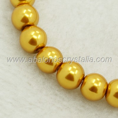 30 PERLAS DE CRISTAL COLOR DORADO 6mm