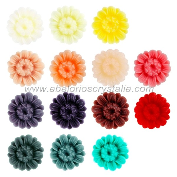 LOTE CABUCHONES FLOR RESINA BASE PLANA 16x16x8mm 14 COLORES