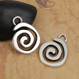 1 COLGANTE ESPIRAL PLATA ANTIGUA 32mm