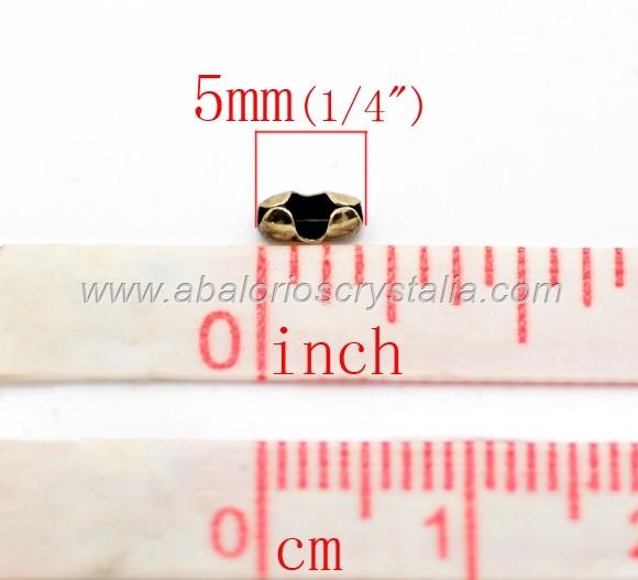 50 TERMINALES BRONCE 5x2.5mm PARA CADENA DE BOLITAS (Apto 1mm-1.5mm)