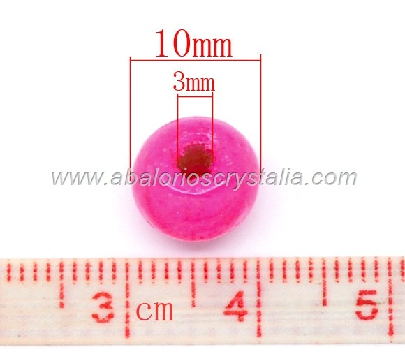 20 BOLAS DE MADERA COLOR FUCSIA 10x9mm