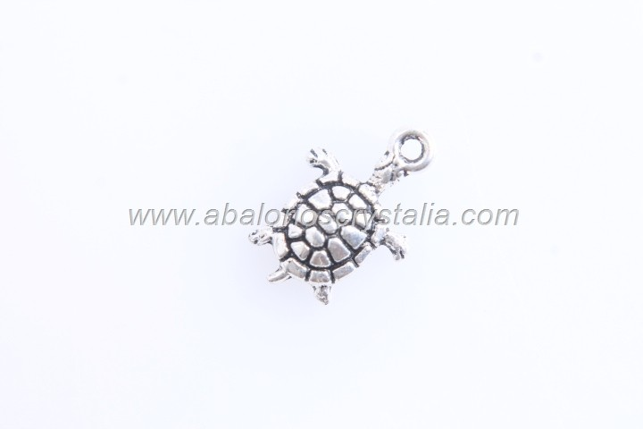 20 COLGANTES MINI TORTUGA PLATA ANTIGUA 12x8mm