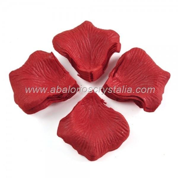100 Pétalos de Rosa de tela 5x5cm Rojo