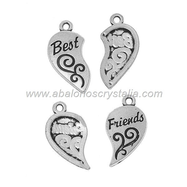 CORAZÓN DIVISIBLE PLATA ANTIGUA 30mm Best friends