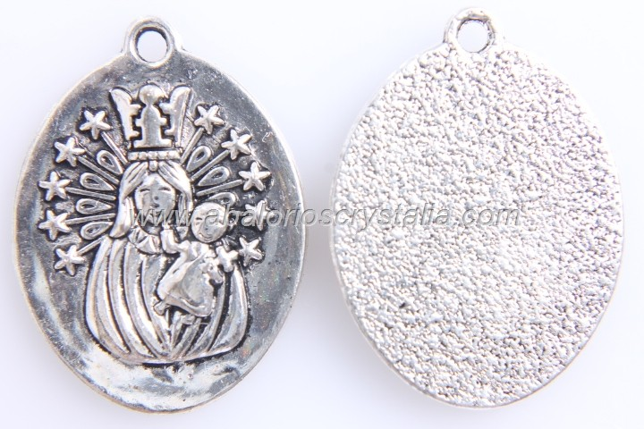 5 MEDALLAS VIRGEN DE LOS DESAMPARADOS PLATA ANTIGUA 27x20mm