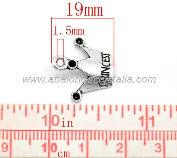 5 CORONAS princess PLATA ANTIGUA 19x11mm