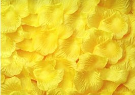 100 PÉTALOS DE ROSA DE TELA 5x5cm (Amarillo)