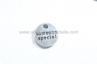 10 CHAPITAS Someone special PLATA ANTIGUA 10x10mm
