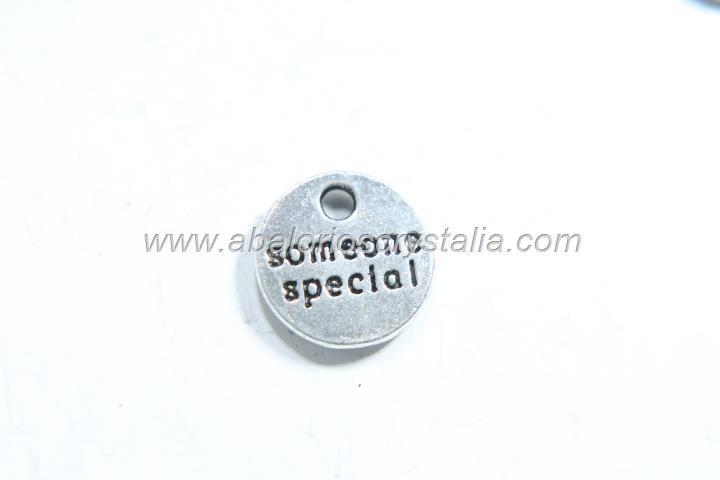 10 CHAPITAS Someone special PLATA ANTIGUA 10x10mm