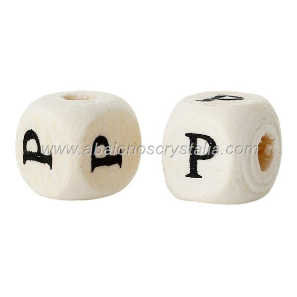 10 CUBOS DE MADERA abc LETRA P COLOR NATURAL BLANCO