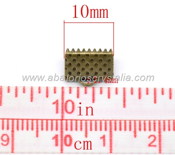 20 TERMINALES PARA CINTA BRONCE ANTIGUO 10x8mm