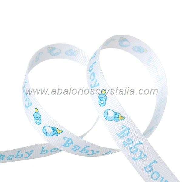 1 METRO DE CINTA GROSGRAIN ESTAMPADO BABY-BOY 15mm