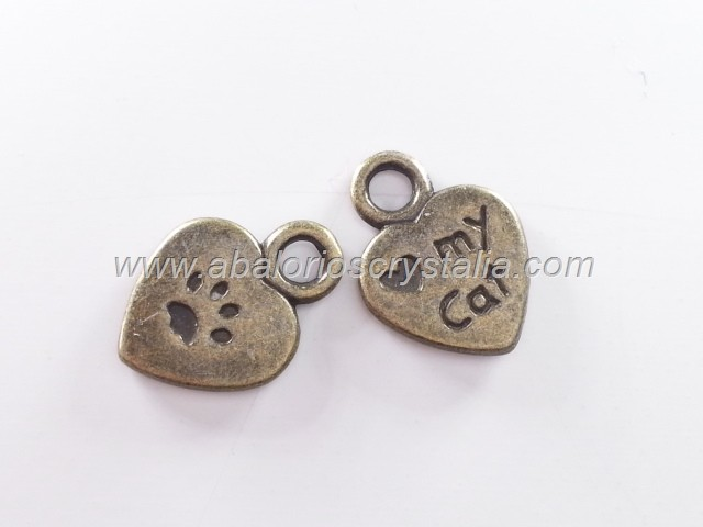 10 COLGANTES CORAZÓN I love my cat BRONCE 12x9mm