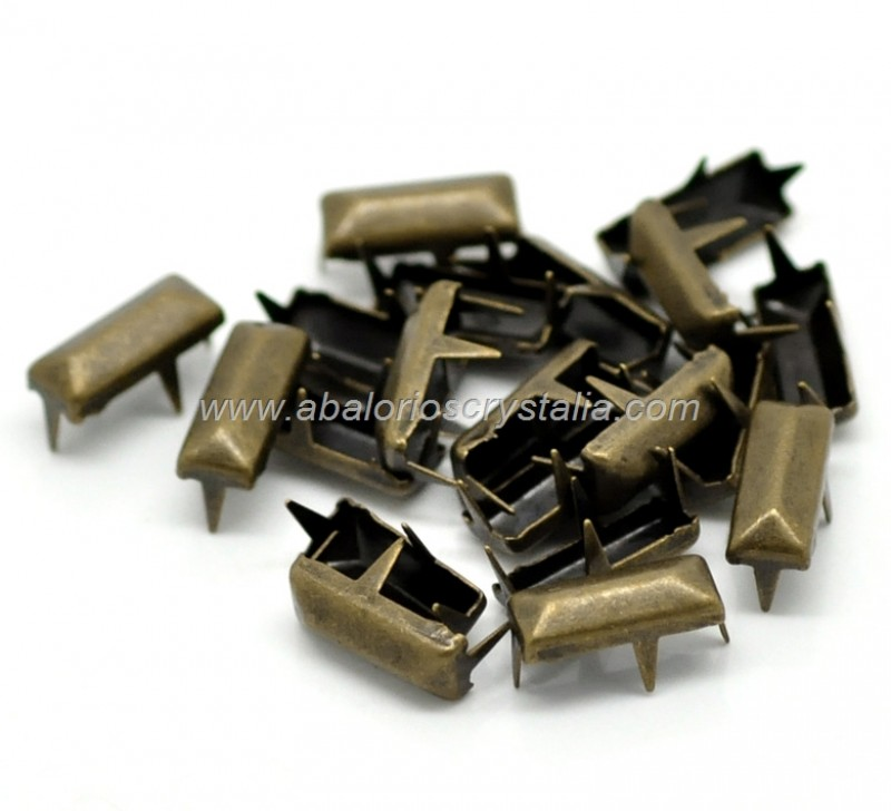 20 TACHUELAS RECTANGULAR BRONCE ANTIGUO 11x5mm