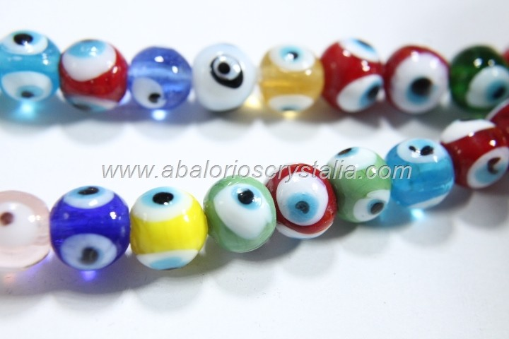 5 BOLAS 10 MM CRISTAL ARTESANO OJO TURCO MIX DE COLORES